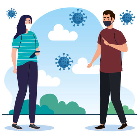 New normal of woman and man with masks design of covid 19 virus and prevention theme Vector illustration