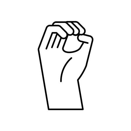 hand sign language o line style icon design of People help and finger theme Vector illustration Vetores