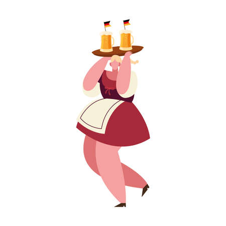 oktoberfest woman cartoon with beer glasses design, Germany festival and celebration theme Vector illustration