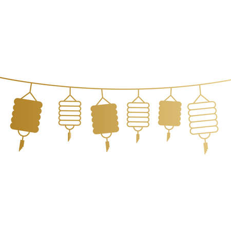 Chinese lamps hanging gold design, China culture asia and oriental theme Vector illustration