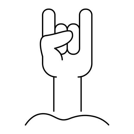 death hand with rock and roll symbol line style icon vector illustration design