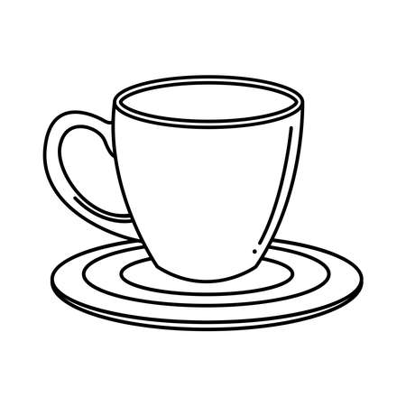 Tea mug on plate line style icon design, Time drink breakfast and beverage theme Vector illustration