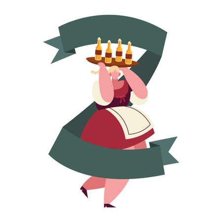 oktoberfest woman cartoon with beer bottles design, Germany festival and celebration theme Vector illustration Ilustração