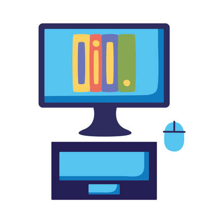 ebooks technology in desktop device icon vector illustration design