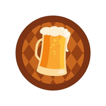 oktoberfest beer glass in barrel design, Germany festival and celebration theme Vector illustration Ilustração
