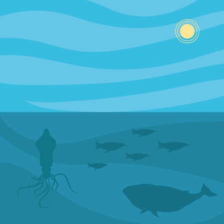 octopus penguins and whale animal design Sea life ecosystem fauna and ocean theme Vector illustration