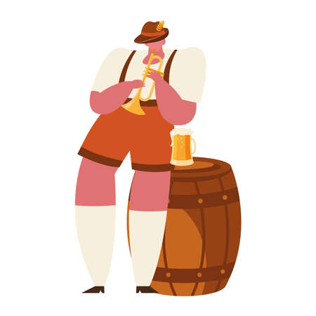 oktoberfest man cartoon with trumpet and beer design, Germany festival and celebration theme Vector illustration