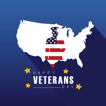 happy veterans day lettering with officer silhouette in usa map vector illustration design