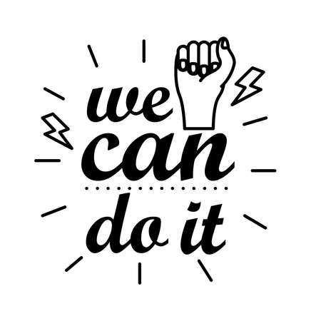 we can do it feminism lettering line style icon vector illustration design