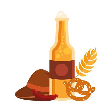 oktoberfest bottle with pretzel and hat design, Germany festival and celebration theme Vector illustration