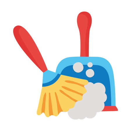 picker and duster tools clean flat style icon vector illustration design