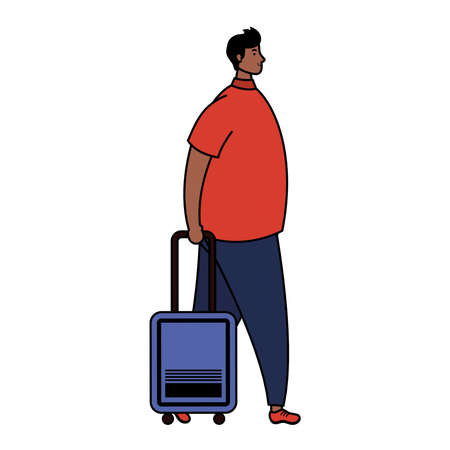 afro young man with suitcase avatar character vector illustration design
