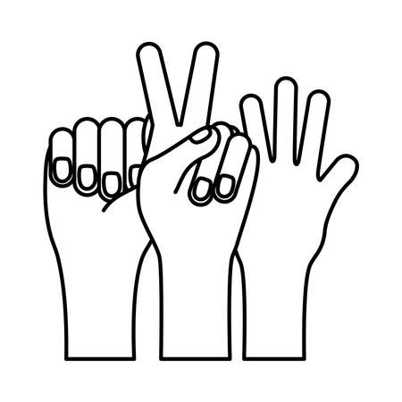 hands prottesting with peace and love symbol line style icon vector illustration design