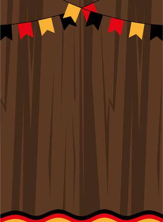 oktoberfest wood background with flag banner pennant design, Germany festival and celebration theme Vector illustration