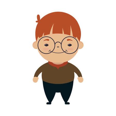 happy little boy wearing glasses character vector illustration design 向量圖像