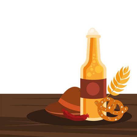 oktoberfest beer bottle hat pretzel and sausage design, Germany festival and celebration theme Vector illustration Ilustração