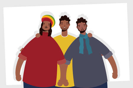 group of afro men characters vector illustration design