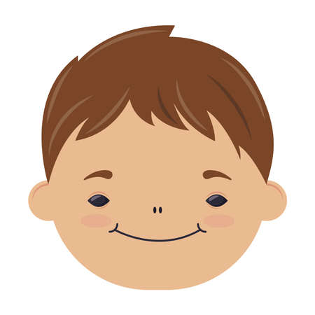 happy little boy head character vector illustration design