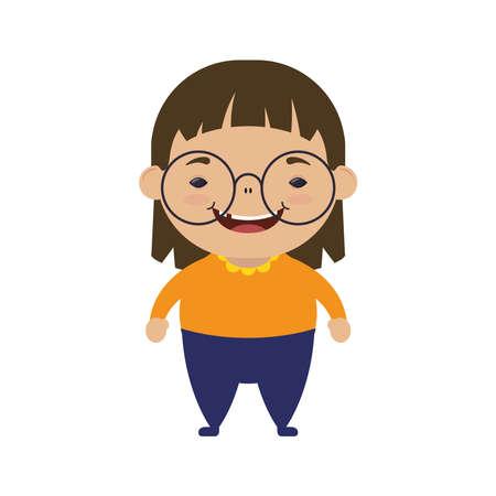 happy little girl wearing eyeglasses character vector illustration design