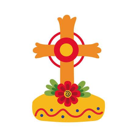 dia de los muertos grave cross with flower flat style vector illustration design