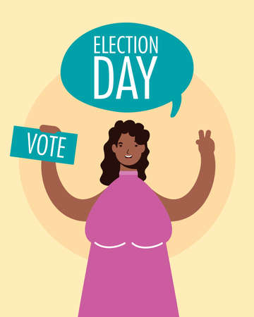 election day lettering in speech bubble with afro woman lifting voting card vector illustration design