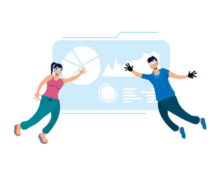 young couple using glasses and reality virtual display vector illustration design