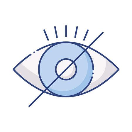 blind eye with denied symbol flat style icon vector illustration design  イラスト・ベクター素材