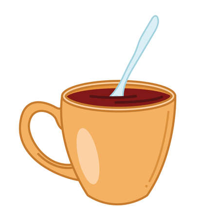 Tea mug with spoon line and fill style icon design, Time drink breakfast and beverage theme Vector illustration Çizim