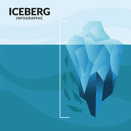 iceberg infographic with whale and penguins design, Data analysis and information theme Vector illustration Ilustracje wektorowe