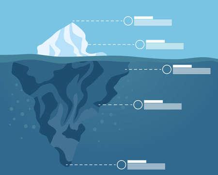 iceberg block with infographic arctic night scene landscape vector illustration design