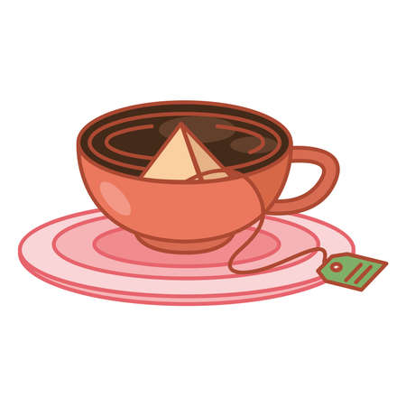 Tea infusion bag in cup on plate line and fill style icon design, Time drink breakfast and beverage theme Vector illustration Ilustración de vector