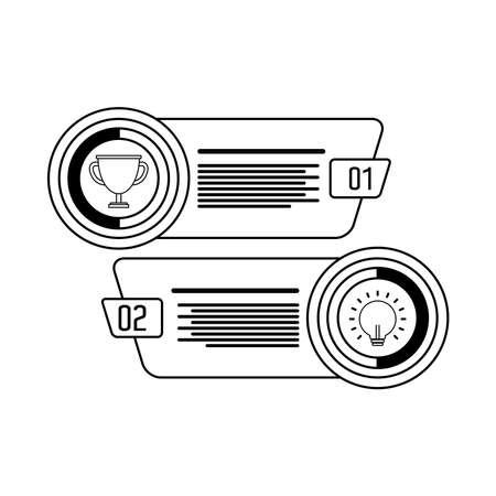 trophy and bulb light infographics statistics line style icon vector illustration design  イラスト・ベクター素材