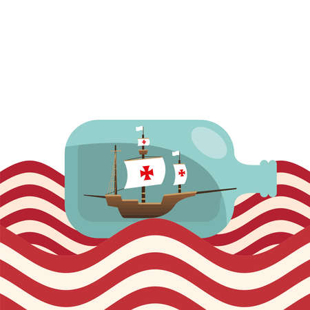Columbus ship in bottle on striped sea design of america and discovery theme Vector illustration