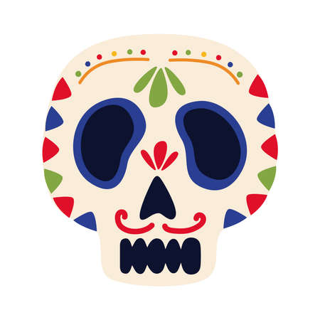 traditional mexican skull head flat style icon vector illustration design