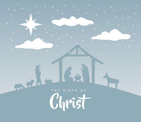 happy merry christmas manger scene with holy family in stable and animals silhouettes vector illustration design Vettoriali