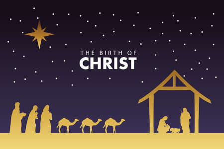 happy merry christmas manger scene with golden holy family and magic kings vector illustration design