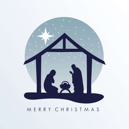 happy merry christmas lettering with manger scene with holy family in stable silhouette vector illustration design