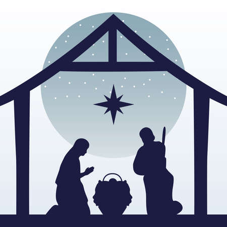 happy merry christmas manger scene with holy family in stable silhouette vector illustration design