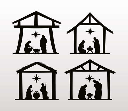 happy merry christmas manger scenes figures in stables vector illustration design