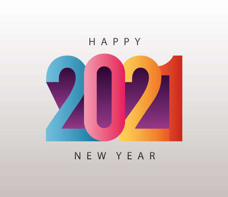 happy new year 2021 colorful lettering in gray background vector illustration design