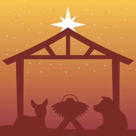 happy merry christmas manger scene with baby and animals in stable silhouette vector illustration design Vettoriali