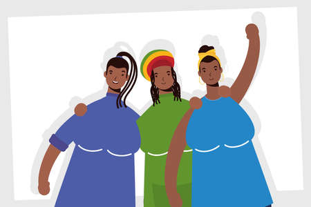 group of afro women characters vector illustration design Vettoriali
