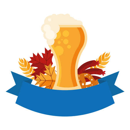 oktoberfest beer glass pretzel and sausage design, Germany festival and celebration theme Vector illustration Ilustração