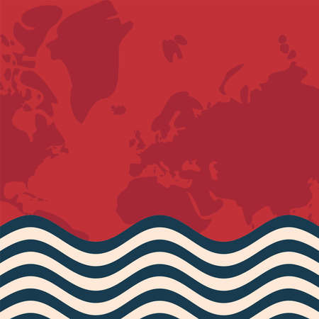 World red map with striped banner design, Planet continent earth and globe theme Vector illustration