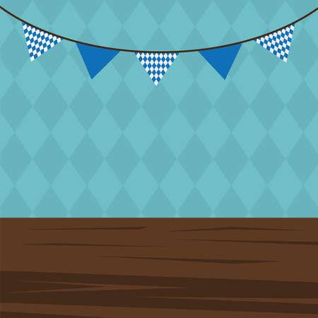 oktoberfest background with banner pennant design, Germany festival and celebration theme Vector illustration