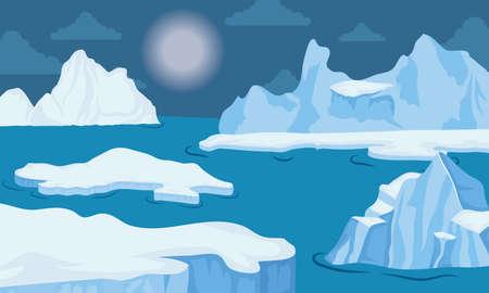 iceberg block arctic night scene landscape vector illustration design Illusztráció