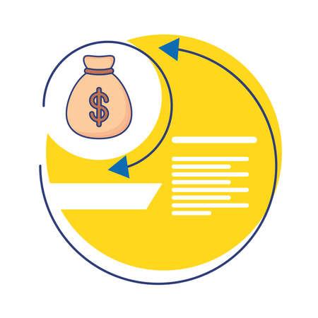 money bag with infographics statistics flat style icon vector illustration design Vettoriali