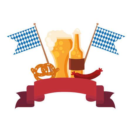 oktoberfest beer glass bottle pretzel and sausage design, Germany festival and celebration theme Vector illustration