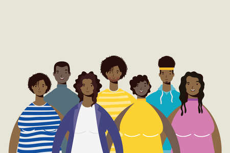 group of afro people characters vector illustration design