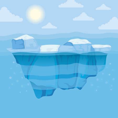 iceberg block and sun arctic scene landscape vector illustration design